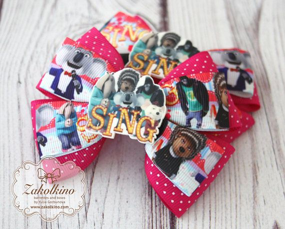 Ash from Sing hair bow Sing movie Character hair bows Layered