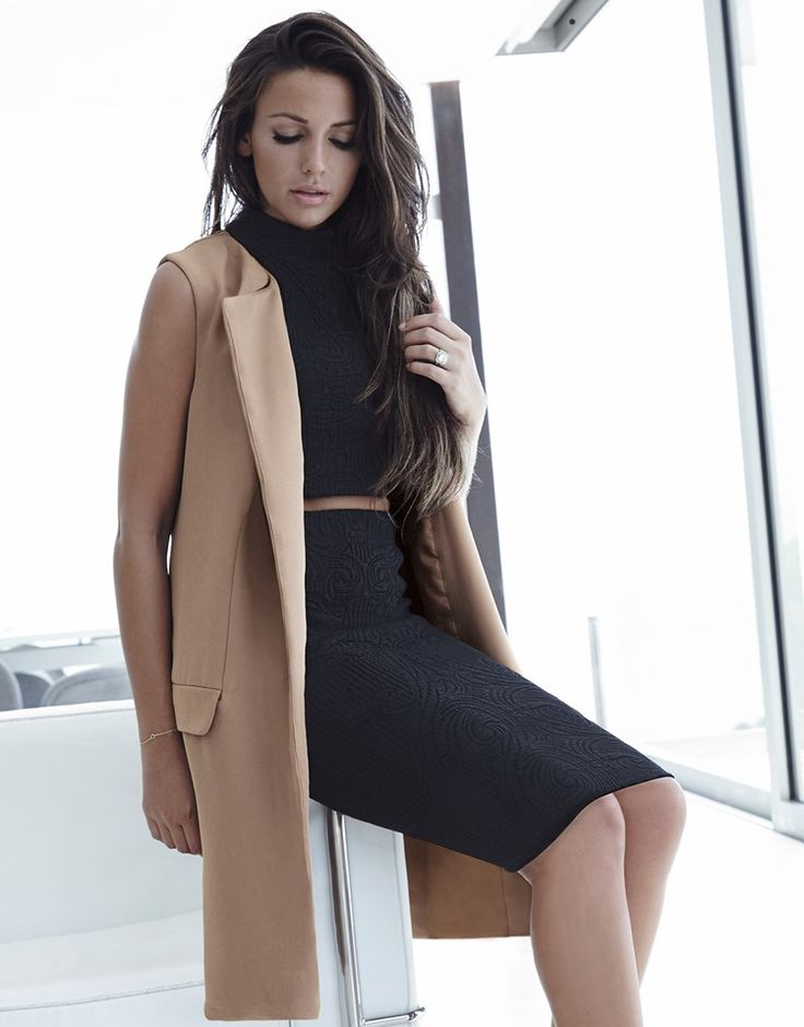 Michelle Keegan sleeveless camel coat