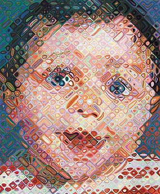 Chuck Close, Emma, 2002  113-color hand printed ukiyo-e woodcut  Paper size: 43 x 35 inches  Image size: 36 x 30 inches  Published by Pace Editions, Inc.  Edition of 55