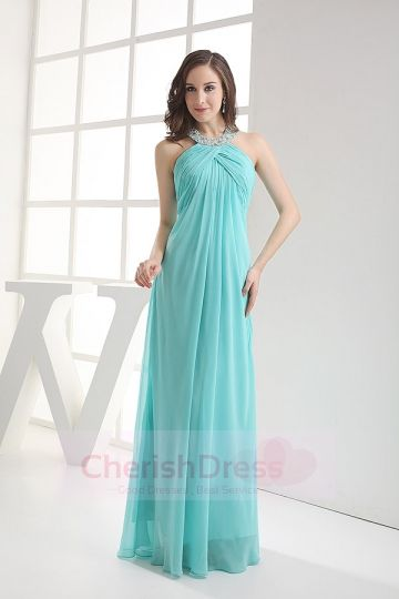 Sheath/Column Halter Chiffon Evening Dress with Ruffles and Beading