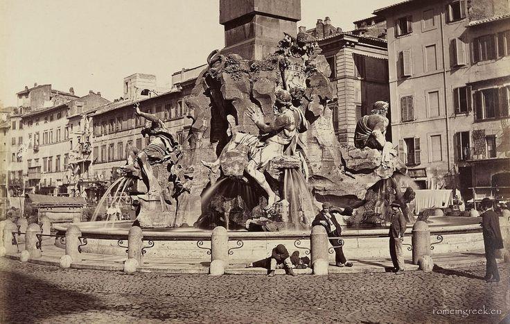 Fontana 4 Fiumi 1865 Rome, Italy