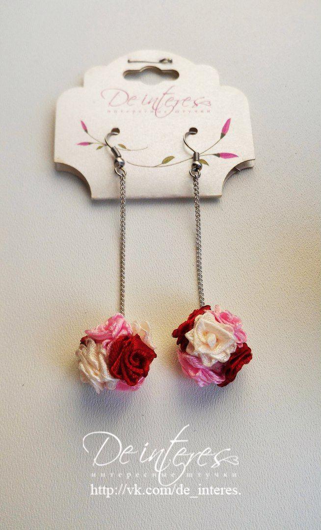 De Interes. Нежный набор: браслет и серьги с ярким акцентом цвета бургунди. Выполнен на заказ для подружек невесты. #бургунди#марсала#бордо#кремовый#розовый#браслет#подружки_невесты#серьги#свадьба#невесты#нежность#атласная_лента#розы