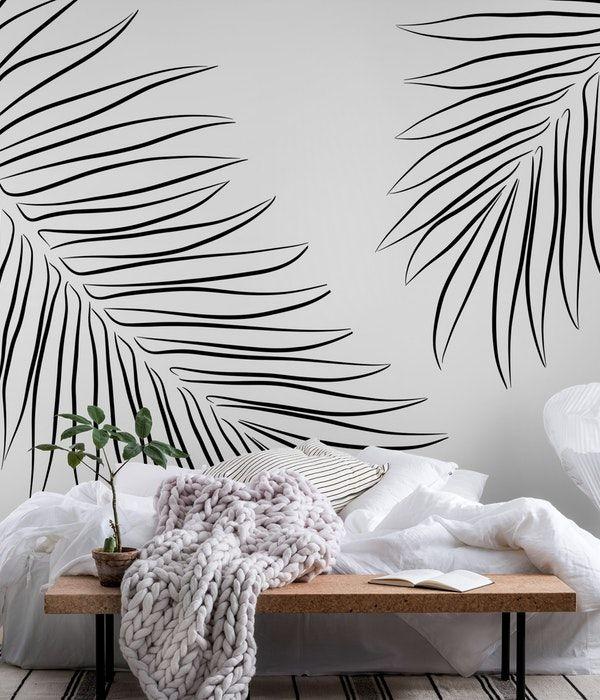 Minimalist Palms Wallpaper Beautiful Wall Decor Bedroom Wall Paint Wall Murals Diy