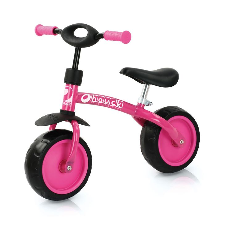 """Rijd door de straten op deze roze loopfiets van Hauck. De fiets is ca. 70 cm groot en heeft een robuust stalen buizenframe. Het stuur van de fiets is in hoogte verstelbaar (51-53,5 cm) en heeft anti-slip handgrepen. Vanaf de eerste stappen blijf je op de 10"""" wielen met EVA banden stevig in balans. Het zadel van de fiets is in hoogte verstelbaar (32.5-38 cm) en maximaal belastbaar tot 20kg.Afmeting: 70 x 45 x 55 cm - Hauck Loopfiets Super Rider Roze"""