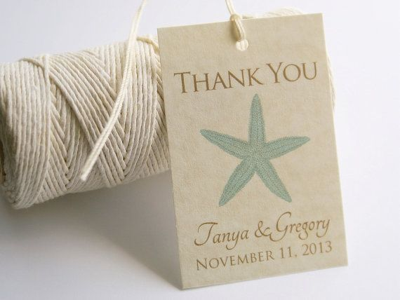 Wedding Shower Favor Tag Template : Wedding Favor Tags, Starfish Thank You Tags, Bridal Shower Gift Tags ...