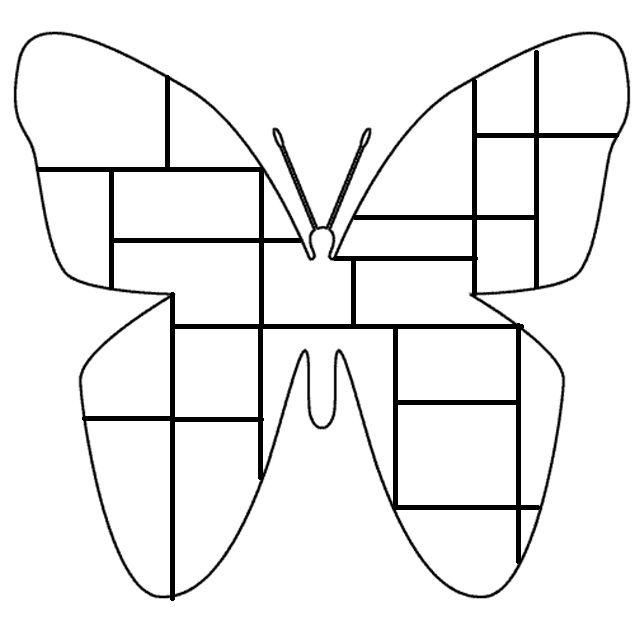 Vlinder kleurplaat Mondriaan. Inkleuren met zwart, geel, rood, blauw en wit.