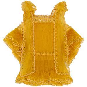 Chloé Layered plissé silk-organza top