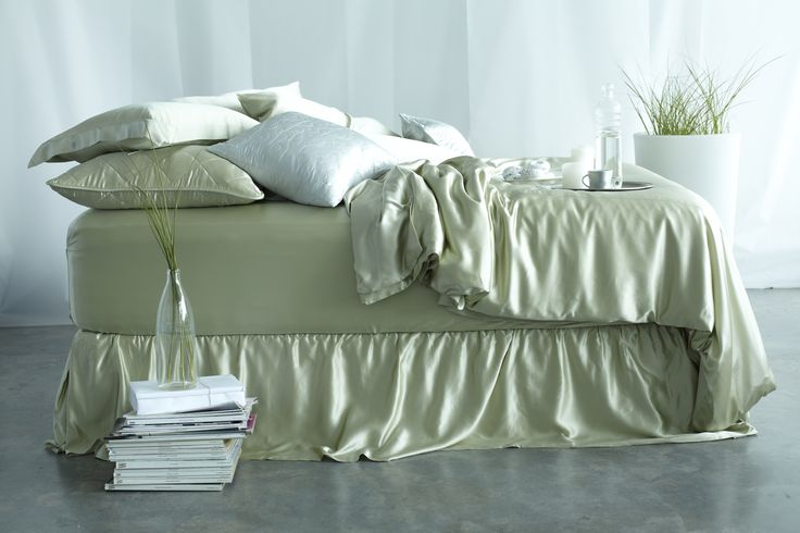 Silk Bedding Sets - Soft Green. The detail found in each of our silk bedding sets is the highest standard you can imagine. With impeccable stitching and a soft and supple traditional, slow weave charmeuse fabric, our bedding sets are unlike any other. We invite you to compare, you will feel and see the Manito difference. | www.manitosilk.com