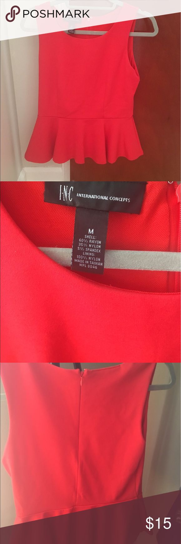 INC Concepts red peplum top Bright red peplum top. zipper back and thick stretchy material elevate the fit. Perfect condition- worn once. INC International Concepts Tops Blouses