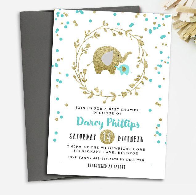 Custom Baby Shower Invitation Aqua Gold Glitter Elephants