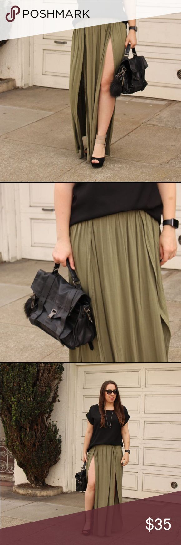 """Double slit olive maxi skirt Very very long maxi skirt, perfect for a tall person! I am 5'7"""" and even with heels on this skirt touches the floor. Very high slits on both the left and right for double the Angelina Jolie leg moments. Fabric is very soft and comfy. Only worn a few times. No discounts or trades. Tobi Skirts Maxi"""