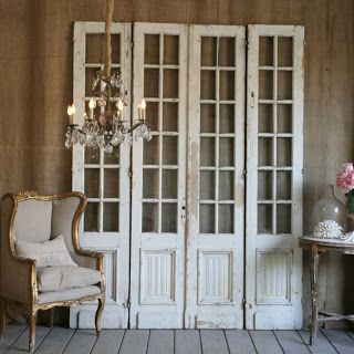 DIY.... Shabby Repurposed Door Wall Decor. This can be dressed up or down...all in how you want to think outside the box.