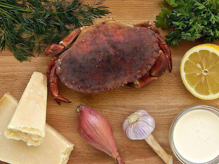 Gratinert krabbe med parmesan