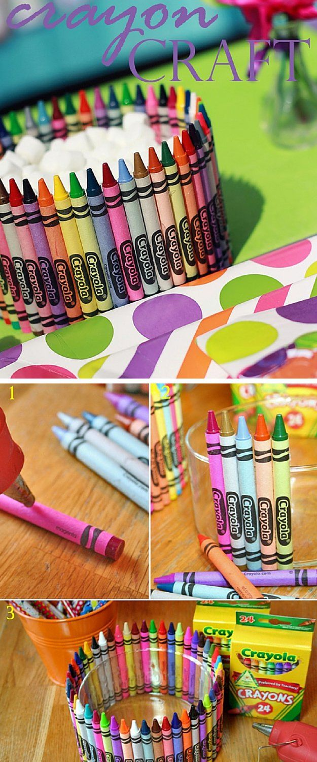 Crayola Crayon Bowl | 12 Rainy Day Crafts for Kids | Simple And Fun Projects For Kids, Perfect For Indoor Activity! by DIY Ready at  http://diyready.com/rainy-day-craft-for-kids/
