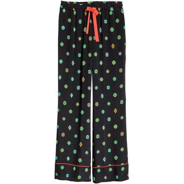 Zijden broek met dessin 69,99 (52.440 CLP) via Polyvore featuring pants, drawstring pants y draw string pants