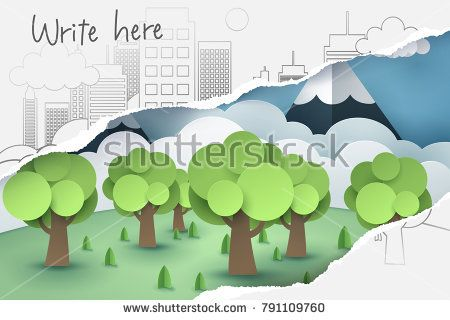 Ripped 2D hand drawing of tree and town paper, see through 3D paper art, origami and world sustainable environment friendly idea, vector art and illustration.