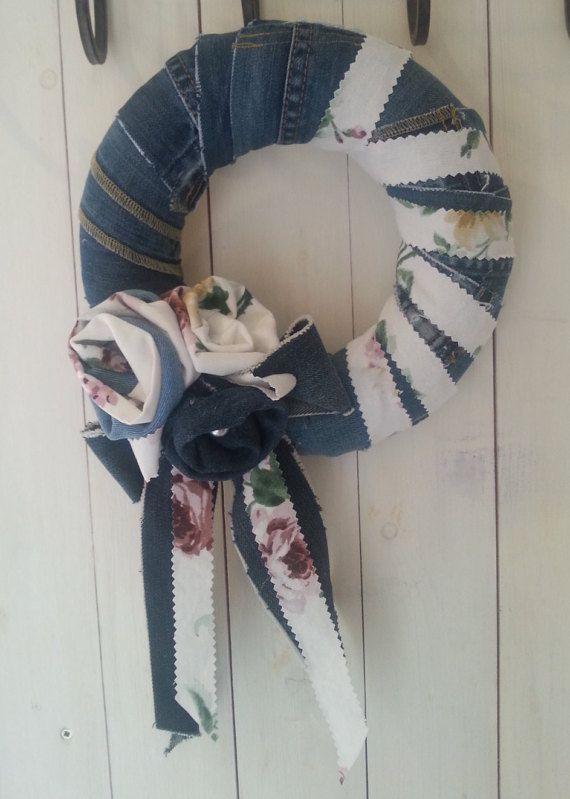 Corona di decorazione o porta dei jeans tessuto di oriJEANalAC