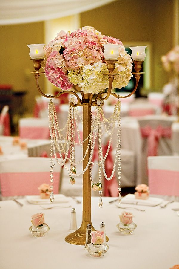{Pink & Gold} Royal Princess Birthday Party Candle stick draped with faux pearls = luxe look