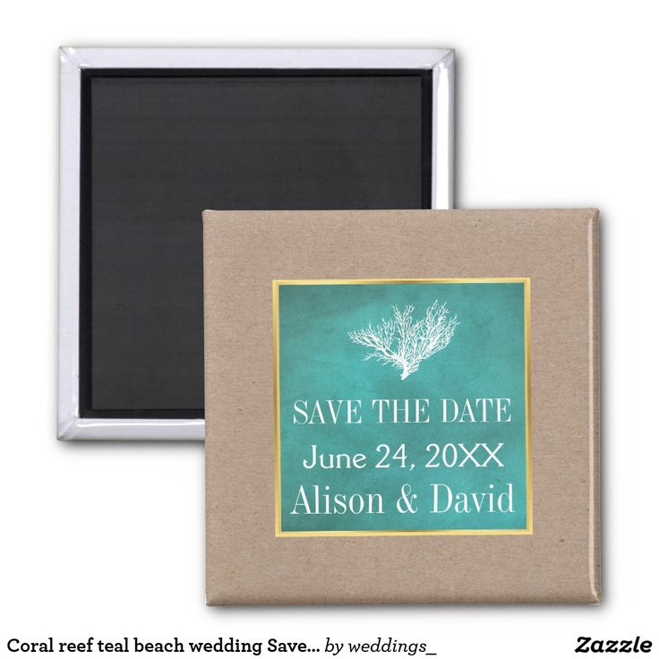 Coral reef teal beach wedding Save the Date Magnet
