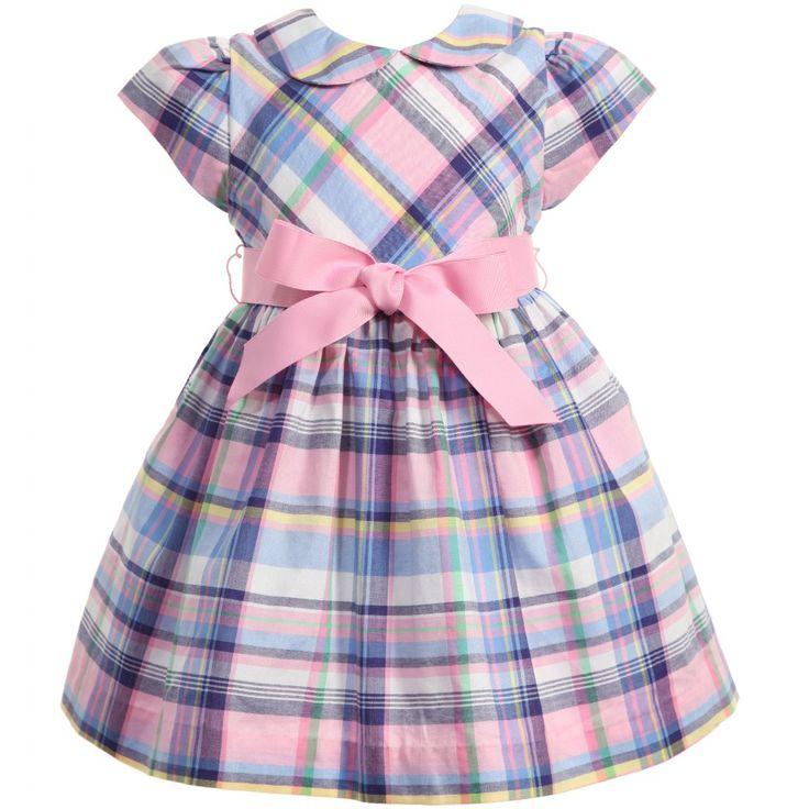 Ralph Lauren Baby Girls Blue & Pink Check Cotton Dress at Childrensalon.com