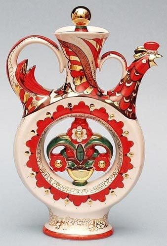 Russian Lomonosov Porcelain Wine Decanter with Folk Cockerel Design