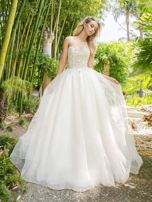 Beaded Strapless Princess Ball Gown Moonlight Couture Style H1340 WeddingBeaded Wedding DressesDesigner DressesLace