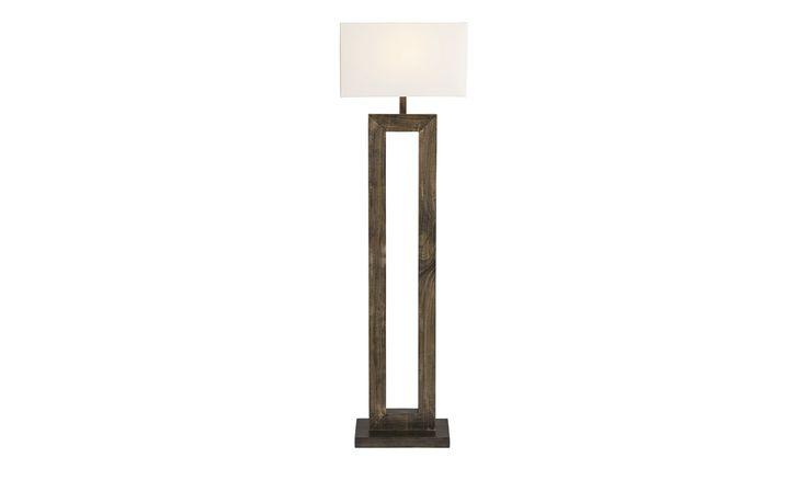 Stehlampe mit Holzfuß und weißem Stoffschirm | Höffner