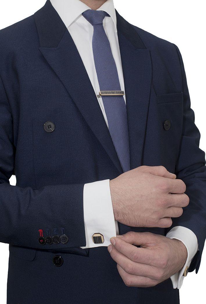 Комплект ТВИД зажим для галстука и запонки от БАГ из дерева | Серый дуб / Клён / Красное дерево - Махагон