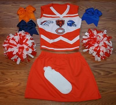 CUSTOM CHEERLEADER COSTUME OUTFIT HALLOWEEN CHICAGO BEARS DENVER BRONCOS S- 2XL
