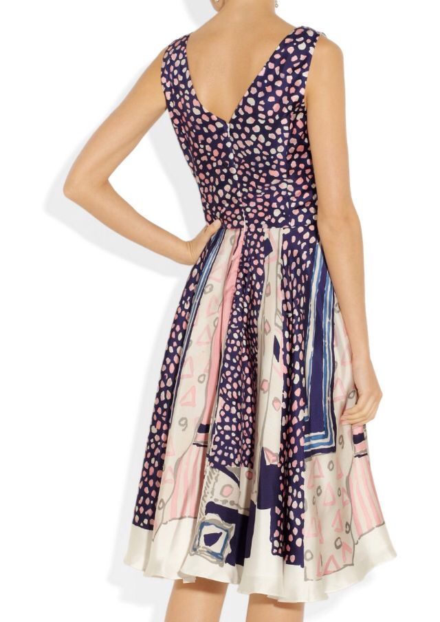 OSCAR DE LA RENTA Printed silk-twill wrap-effect dress