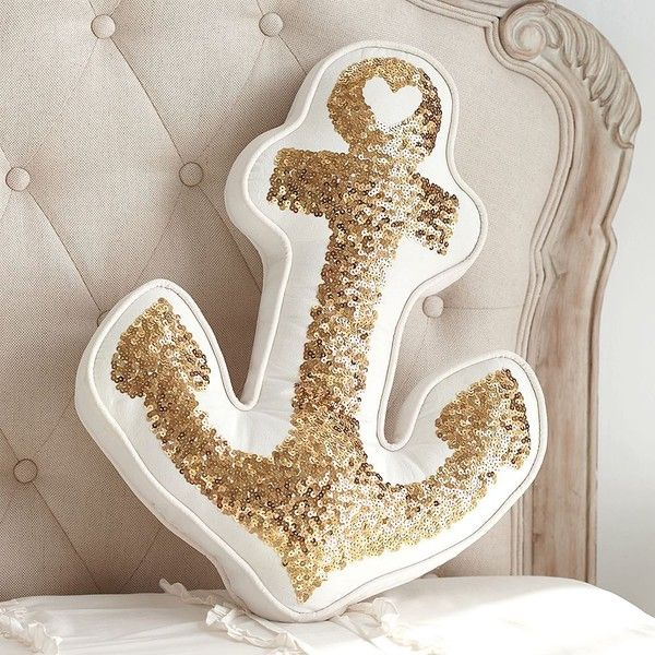 PB Teen The Emily + Meritt Gold Anchor Pillow ($39) ❤ liked on Polyvore featuring home, home decor, throw pillows, gold accent pillows, gold throw pillows, pbteen, white home decor and nautical accent pillows