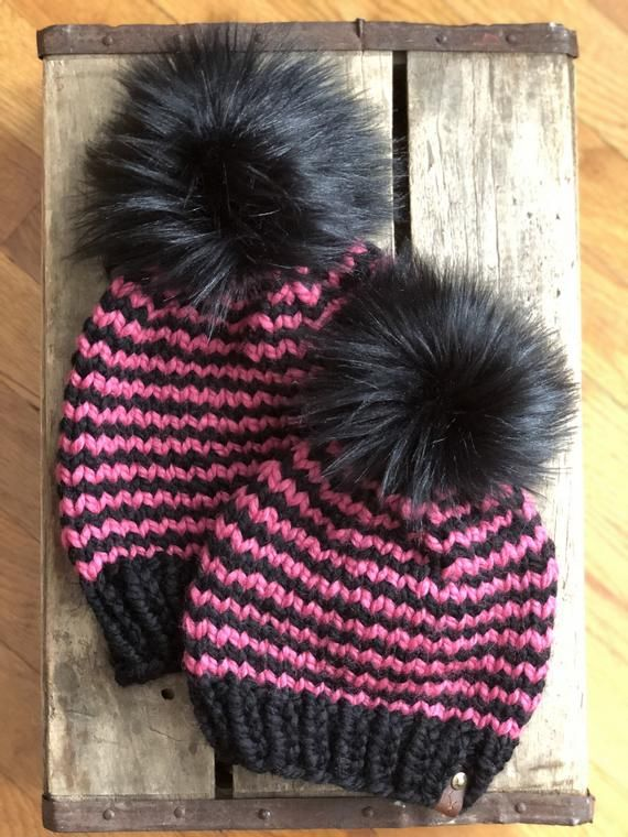3b289d58 Mommy and Me Black & Raspberry Striped Hand Knit Beanie Onyx Faux ...