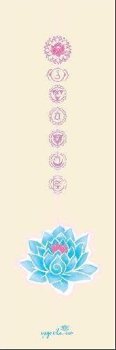 690** Podložka na jógu PREMIUM - béžová, potisk lotosový květ