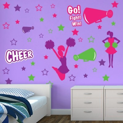 Cheer tastic restickable wall graphics bedroom stickerswall decor