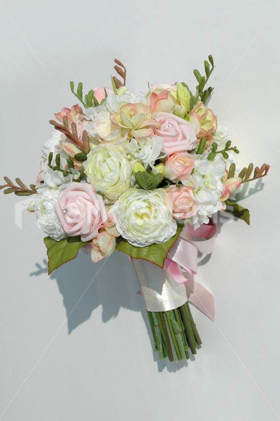 Gorgeous Light Pink Rose and Ivory Ranunculus Bridal Bouquet ...