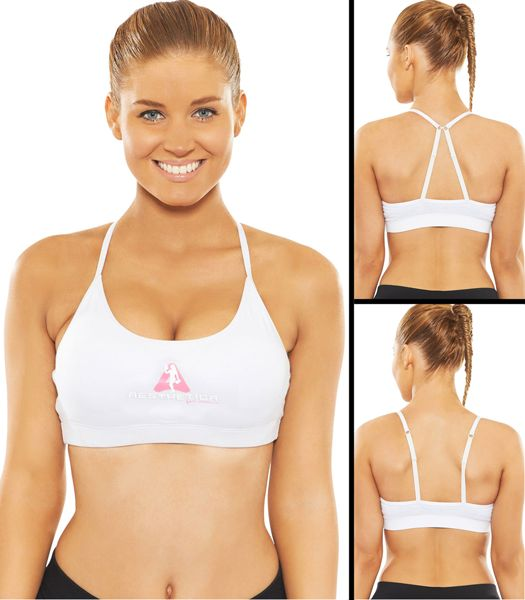 Premium Sports Bra - White  - Dual Strap - Removable Pads designed to give the perfect shape - Ultimate in performance & Comfort. Strong, Sexy yet Fashionable Gym wear!