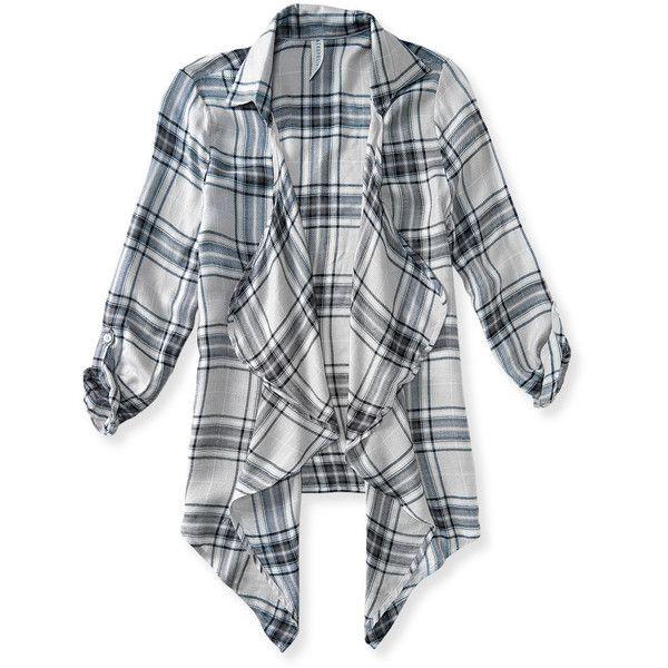 Aeropostale 3/4 Sleeve Plaid Kimono Cardigan ($24) ❤ liked on Polyvore featuring tops, cardigans, jackets, outerwear, shirts, soft grey, gray cardigan, long shirts, long kimono cardigan e draped open front cardigan