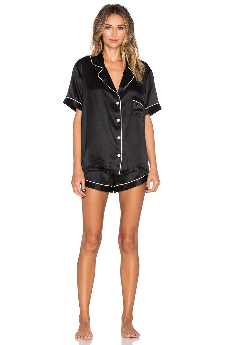 KISSKILL Silk PJ Short Set in Black