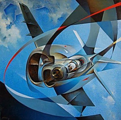 Futurist Art Paintings   Tullio Crali, Monoplano Jonathan, 1988