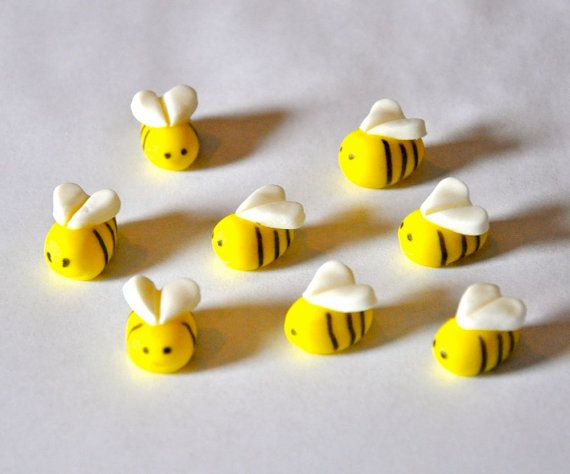 Bee Fondant Cupcake Cake or Cookie Toppers by LadyCupcakesCorner
