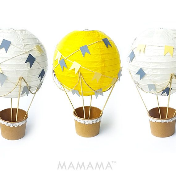 Whimsical Hot Air Balloon Decoration DIY kit , Nursery Decor , unisex Baby shower , Wedding Decor , Travel Theme Decor - set of 3  -DESCRIPTION - Decorate your party, baby shower or child's nursery with the Whimsical Hot Air Balloon DIY kit. The kit contains all the materials needed for 3 whimsical balloons plus step-by-step instructions. The diameter of each balloon is 20cm, height approximately 30cm when assembled. They're easy to hang. PLEASE NOTE: You will not receive finished…
