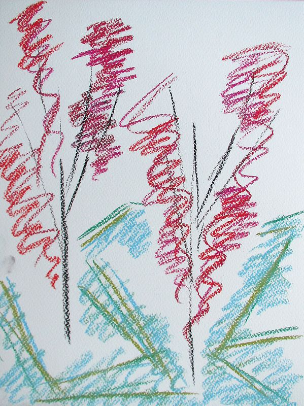 Late cherry trees #art #pastels #drawing #abstract #cherry #tree #sakura #spring #finland