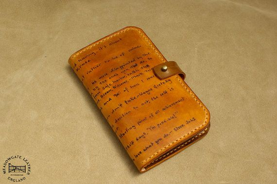Real leather Personalized phone case / wallet - Samsung S5, Note 3, Note 2, HTC One M8, Nexus 5, Larger cell phones / Phablets. Hand made