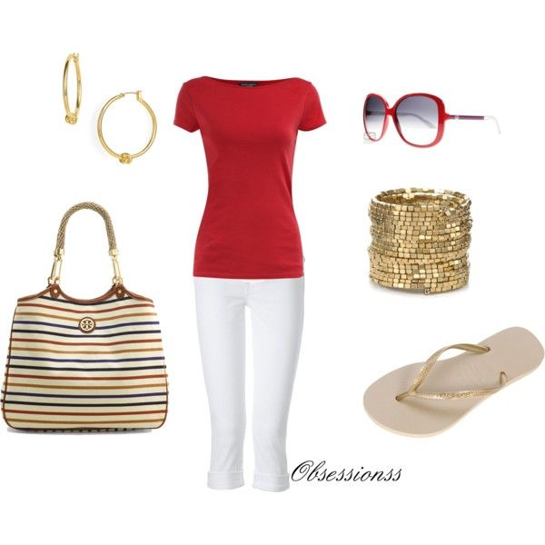 Red White and Gold, created by obsessionss.polyvore.com: Red Tops, Deeni Fashion, Holidays Idea, Clothing Clothing Clothing, Fashion Styles, Styles Closet, White Gold, Red White, Red Shirts