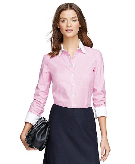 Brooks Brothers- Women's Non-Iron Tailored Fit Houndstooth Dress Shirt