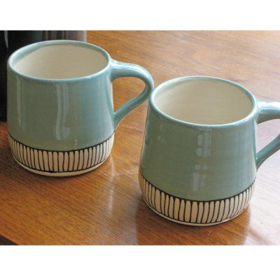 I love the pattern at the base of these mugs.