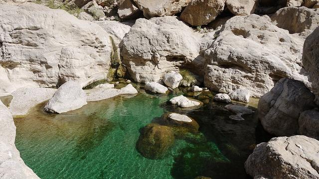 Oman - Dans un wadi, des vasques d'eau turquoise où il fait bon se baigner.