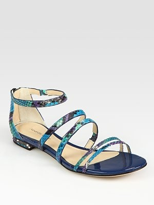 Alexandre Birman  Python and Patent Leather Gladiator Sandals