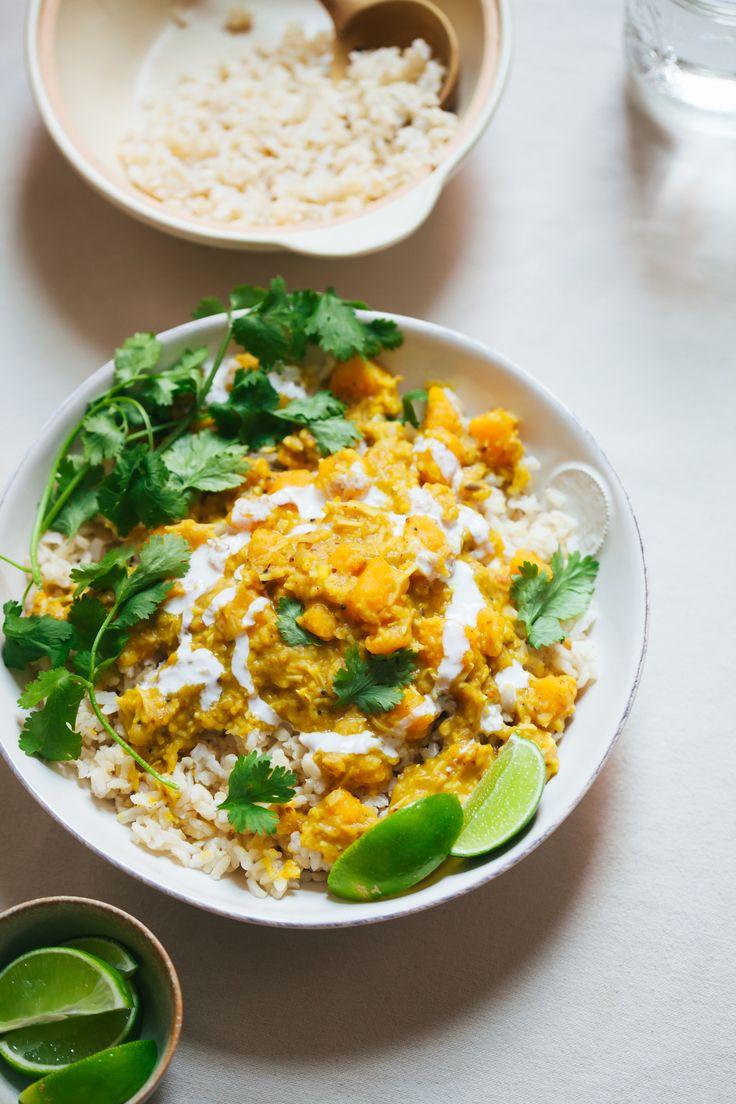 Versatile Mung Dal Stew lentils, split mung beans, cumin, curry, butternut squash, green beans, broccoli, peas | Golubka Kitchen