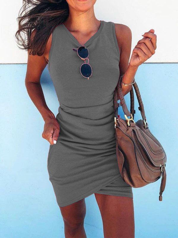 Round Neck Irregular Cross Bodycon Dresses Heycloths Com Mini Dress Fashion Ruched Bodycon Dress Fashion